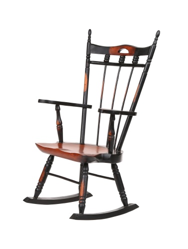 Vintage Brown and Black Rocking Chair Isolated on white.