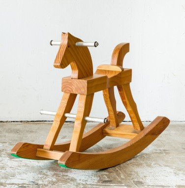 Cute vintage classic rocking horse chair children could enjoy the riding on white background