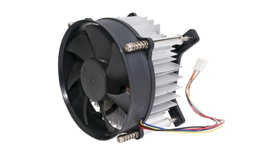 The cooling fan with heatsink computer processor, close-up, white background.