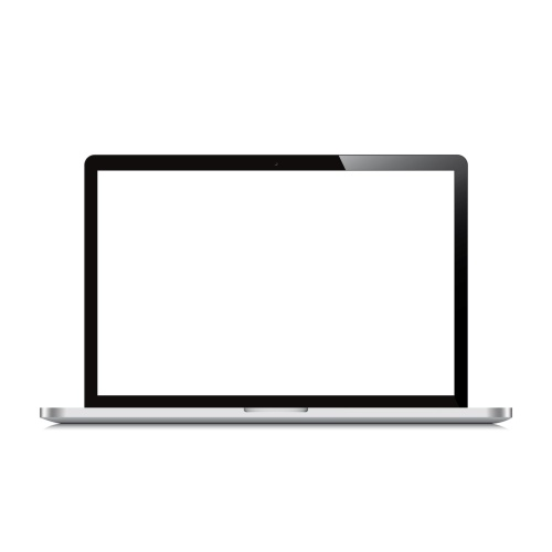 laptop open screen white background