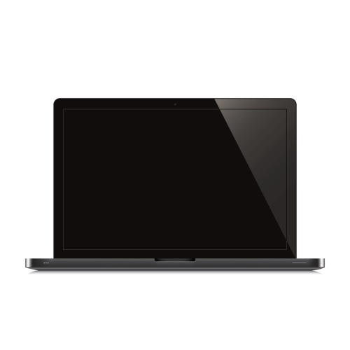 laptop open black screen white background
