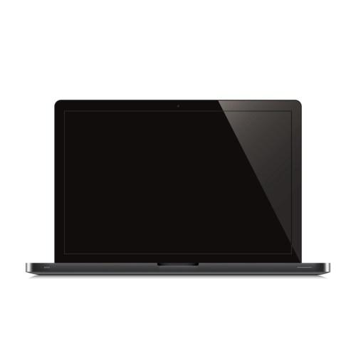 laptop open black screen white background