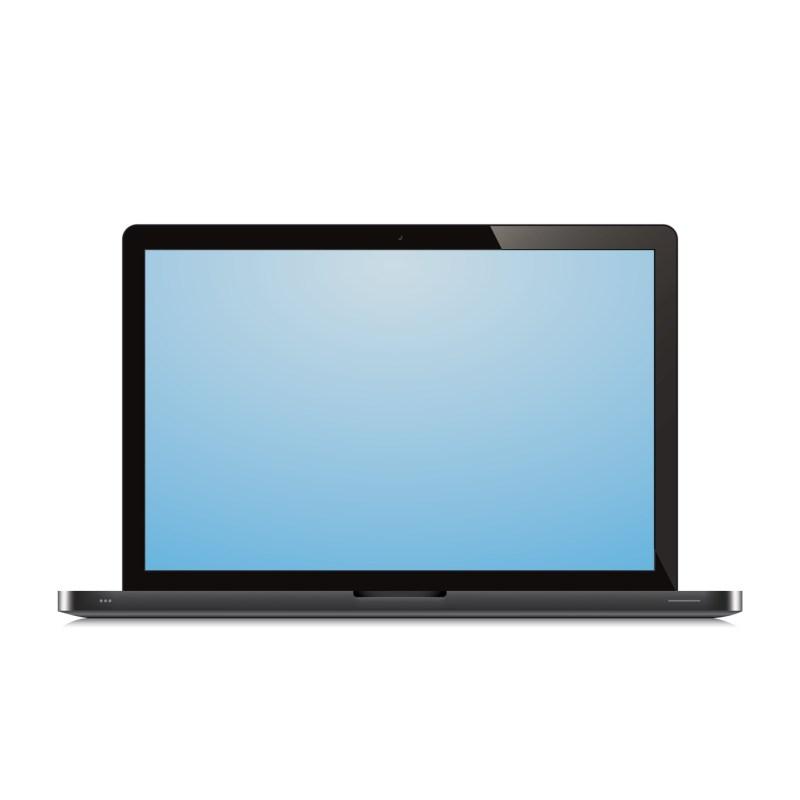 laptop open blue screen white background