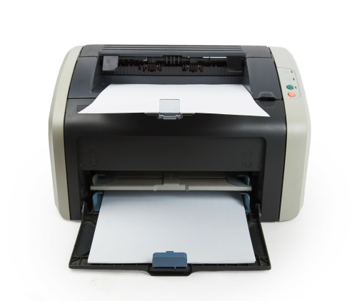 Modern printer isolated on white background
