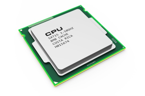 Computing processor CPU chip isolated on white background 3d. Hardware technology PC
