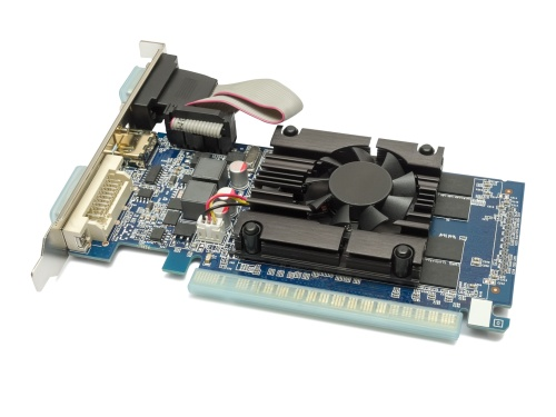 Video card with three outputs on a white background.