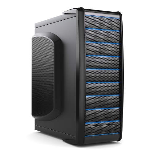 Server tower box. Black desktop PC isolated on white background 3d